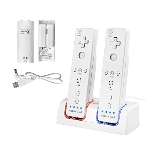 - TechKen Wii Remote Battery Charger Station, Dual LED Lighting Charger Dock with 2 Rechargeable Batteries for Wii/Wii U Remote Control, 2 Free Controller Batteries for Wii/Wii U