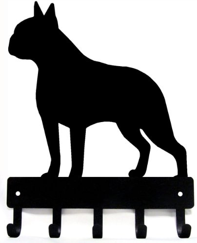 The Metal Peddler Boston Terrier Key Rack Dog Leash Hanger - Large 9 inch Wide