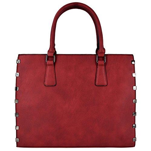 Crazychic - Handbag For Women - Shopping Tote Bag - Gold Plate - Large Shopper - Faux Fur - Shoulder Bag - Zipper - Laptop For School Work - Black Red