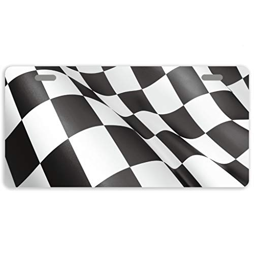 Eprocase License Plates Float Racing Flag License Plate Cover Decorative Auto Tag Car Tag Sign Metal Novelty License Plate 2 Holes, 11.8