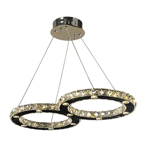 - Worldwide Lighting W83148C26 Galaxy 22 LED Light Chrome Finish and Clear Crystal Double Ring Non-Dimmable Chandelier 26