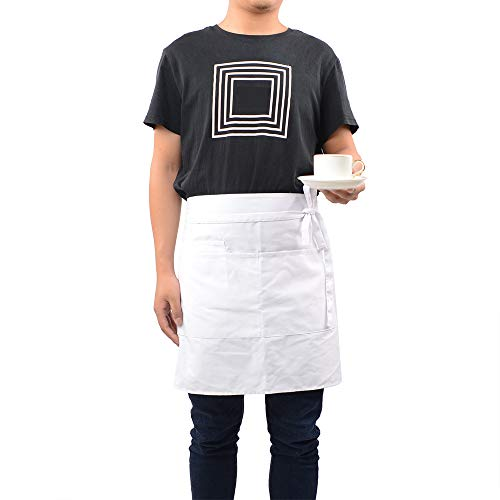 ROTANET Waist Apron/Half Apron with 3 Pockets, Professional Grade for Home or Professional Kitchen - Durable, Comfortable, Easy Care(White)