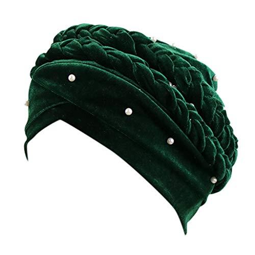 OSTELY Muslim Dichroic Braid Head Turban Velvet Bead Wrap Hat Women Cover  Turban Cap(Green)