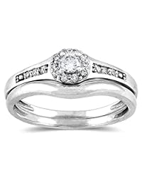 Dream Jewels Women's 1/4 Ctw Diamond Bridal Set in 14K White Gold Plated Alloy
