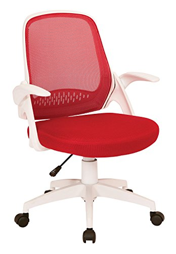 Ave Six Red Mesh and White Frame Flip Arms Jackson Office Chair