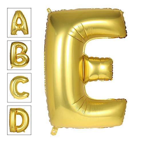 Lovne 40 Inch Jumbo Gold Alphabet E Balloon Giant Balloons Prom Balloons Helium Foil Mylar Huge Letter Balloons A to Z for Birthday Party Decorations/Wedding/Anniversary