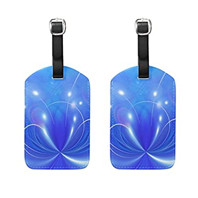 1Pcs Saobao Travel Luggage Tag Blue And Purple Flower Background PU Leather Baggage Suitcase Travel ID Bag Tag