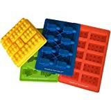 Building Bricks and Figures Silicone Candy Molds - Lego Style PREMIUM 4 Piece Party Set - Make Ice Cubes, Cake Toppers, Chocolate, Fondant, Fruit Juice Gummies, Healthy Snacks, Jello, Crayons, Soap, Candles - Fantastic Party Favors and Birthday Fun
