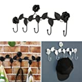 Best Key Holder With Decorations - Creative Vintage Rose Flower Hook Clothes Rack Robe Review