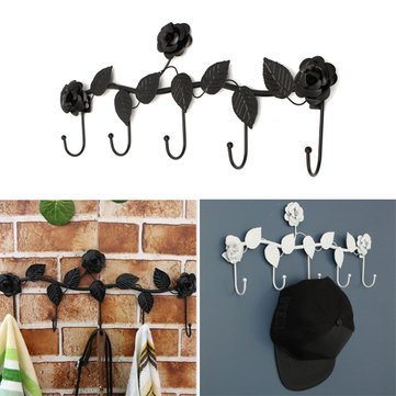 hpbg-decor-party Creative Vintage Rose Flower Hook Clothes Rack Robe Key Holder Hat Hanger Wall Home Decoration^.