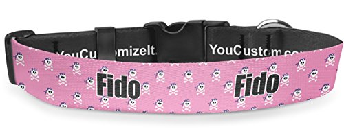 RNK Shops Pink Pirate Deluxe Dog Collar - Toy (6'' to 8.5'') (Personalized) by RNK Shops