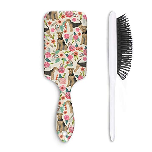 Airedale Terrier Dog and Spring Florals Unisex Hair Brushes Supple Fiber Anti Static Lightweight Fine Hair Comb Cat Hair Comb