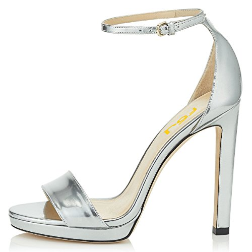 Women Toe 4 FSJ High Platform 15 Stiletto Shoes Silver US Heels Sandals Sexy Pumps Open Size Dress 4tqqwd1
