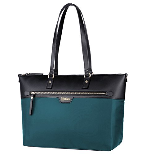BRINCH Laptop Tote, Nylon Microfiber Leather Stylish Zipper