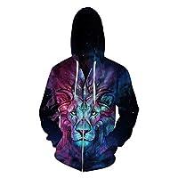 Hulaha Unisex 3D Tiger Fleece Warm Zipper Hooded Sweatshirt