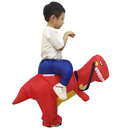 YeahiBaby Inflatable Dinosaur Riding Toy Halloween Cosplay Fancy Dress Costume for Kids Children Toddlers (Red)