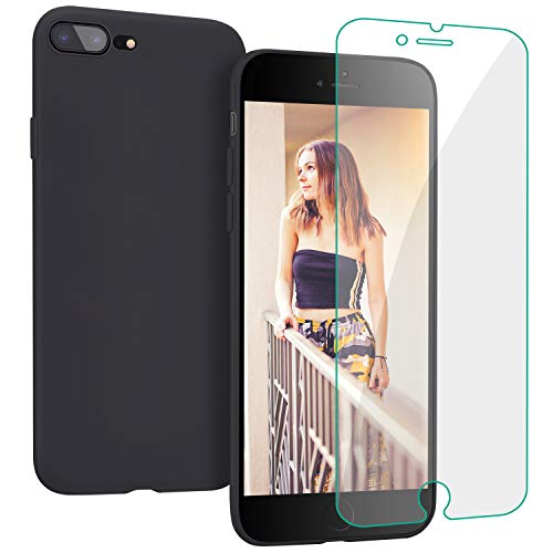 Case for iPhone 8 Plus/iPhone 7 Plus, Liquid Silicone Ultra Thin Cover with Free Tempered Screen Protector Drop Protection Shell for iPhone 8 Plus/7 Plus-Black