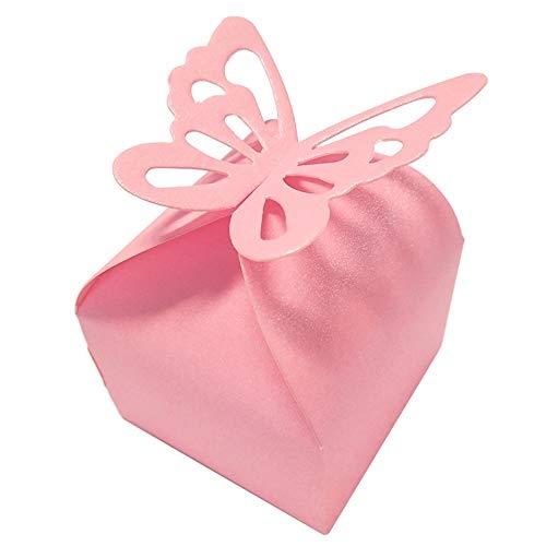 Devbor 50 Pack Pearl Pink Wedding Favors Gift Boxes,Luster