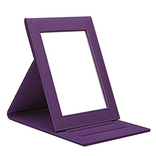 Fintie Portable Folding Vanity Makeup Mirror, Slim PU Leather Folding Compact Makeup Tabletop Travel Cosmetic Mirror with Standing - Purple