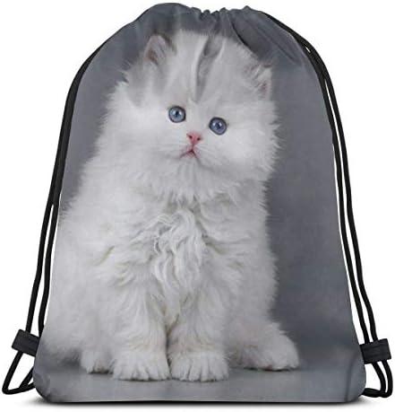 白子猫ユニセックス巾着バッグジムバックパックバッグトラベルバッグハイキングスイミングヨガ36 x 43cm