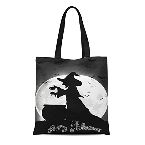 Semtomn Canvas Tote Bag Shoulder Bags Black Silhouette the Witch Cooks on Full Moon White Women's Handle Shoulder Tote Shopper -