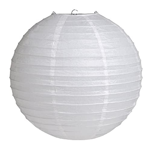 Lamp shade over light bulb amazon 12 round hanging paper lantern white aloadofball Image collections
