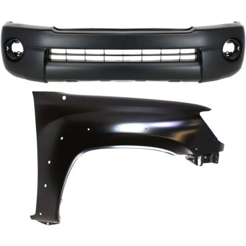 Bumper Cover Kit Compatible with Toyota Tacoma 2005-2011 Set of 2 Front With Bumper Cover and Fender (Right Side) Base/Prerunner Models