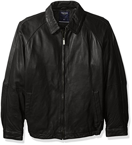Mens Lamb Jacket (Nautica Men's Big and Tall Lamb Zip Front Blouson Leather Jacket, Black, XLT)