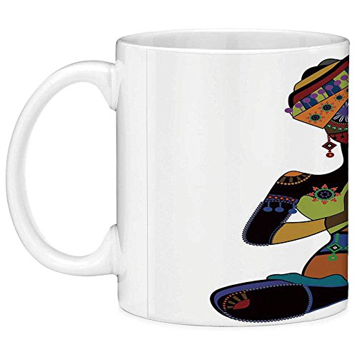 Funny Coffee Mug with Quote Yoga 11 Ounces Funny Coffee Mug Woman Figure in Ethnic Style Costume Praying Culture Religion Enlightenment Grace Decorative Multicolor for $<!--$9.99-->