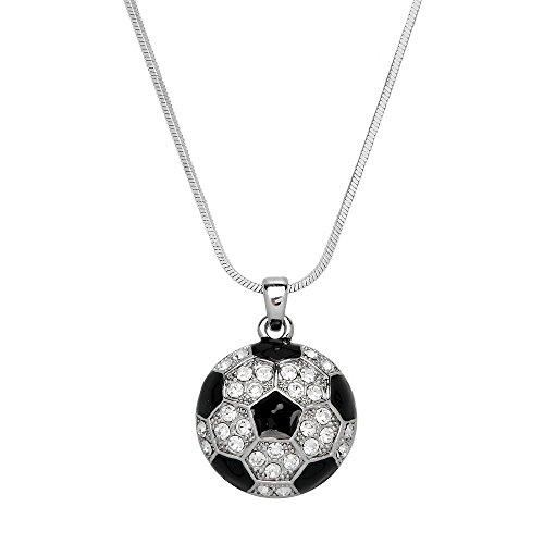Soccer Ball Pendant Necklace Rhinestone Crystal High Polished Rhodium J0760