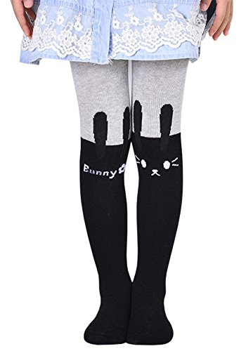 BaiX Little Girls' Cute Patchwork Cotton Footed Tights Spring Fall Stockings, 5-7 Years, Grey (Bunny Girl Costume Uk)