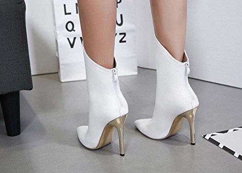 Stiletto Boots Colori Da Punta Di Dimensioni Vestito Puro Stivali OL Nuziale Centimetri 40 Eu Stivali Cerimonia 34 Corte A Chiusura Punta Donne Da Bianca 12 Stivaletti Affascinante ZEA6wfRq