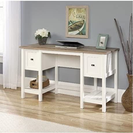 Mifflin Writing Desk With 2 Drawer And 2 Shelves Soft White