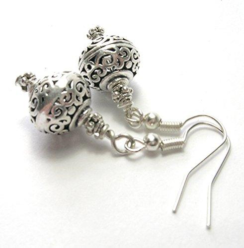 Silver Scroll Bali Bead Earrings - Handmade Earrings