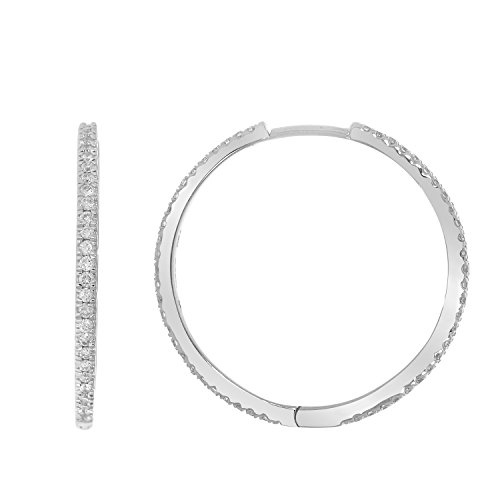 1/2 cttw 18k Gold Round Cut Diamond Ladies Hoop Earrings (G-H / SI) (white-gold) by eSparkle (Image #3)