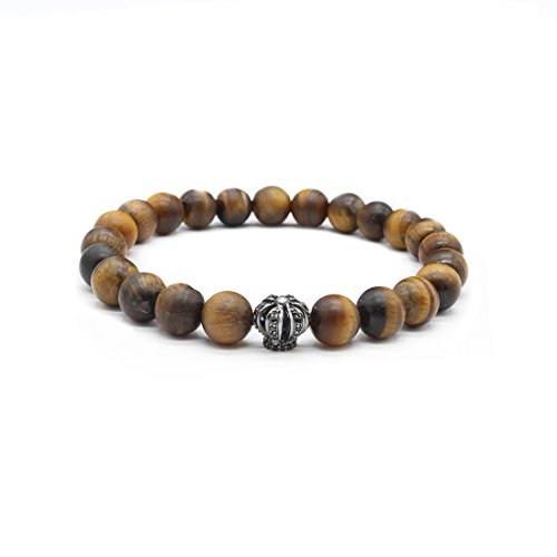 Unisex Crown Bracelet in 925 Sterling Silver, combined with matte Yellow Tiger Eye beads in 10mm size   Spiritual & Healing power (Sterling Tigers Eye Bead Bracelet)
