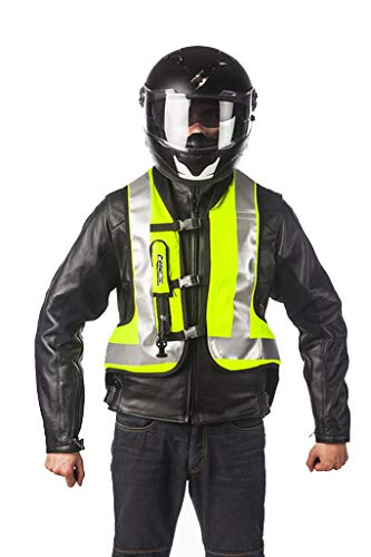 HELITE Unisex-Adult Turtle Motorcycle Airbag Vest (Hi Viz Yellow, Small)