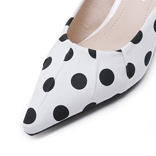 Bout Heel à Mode Pointu Femmes Pois Aiguilles Chaussuons Kitten Mules Talons Blanc Sandales Chaussure SvwqZB
