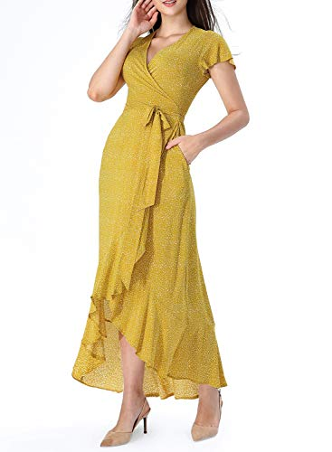 VFSHOW Womens Summer Yellow Dot Print Ruffle Sleeve V Neck Pockets Split High Low Casual Beach Party Wrap Long Dress G3116 YEL XS