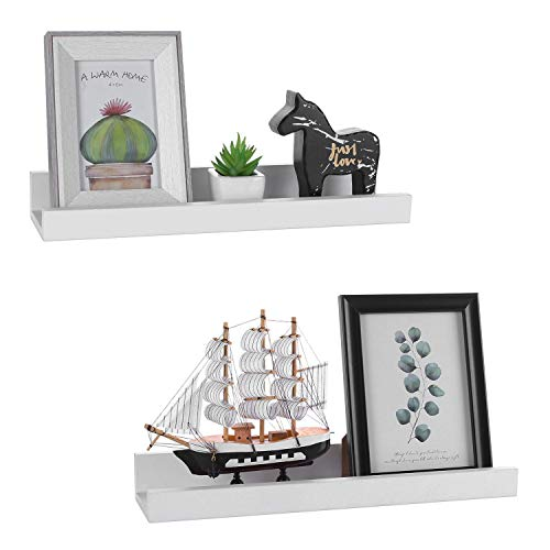- Halcent White Picture Ledge Shelf Multi-Use Wood Floating Wall Shelf Photo Ledge Kids Bookshelf Wall Display Shelf (2 Pack)