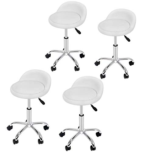 Adjustable Hydraulic Rolling Swivel Salon Stool Chair Tattoo Massage Facial Spa Stool Chair with Back Rest (PU Leather Cushion) (4PCS)
