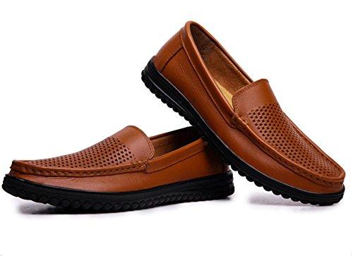2017 nueva primera capa de zapatos casuales de cuero reales de los hombres de los pies sandalias huecos 1