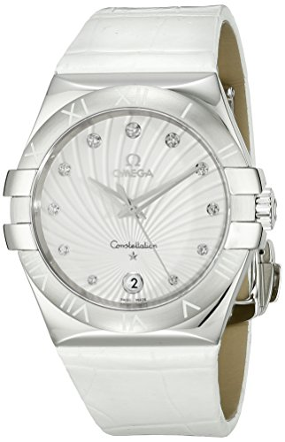 Omega Women s 123.13.35.60.52.001 Constellation Diamond-Accented Stainless Steel Watch with White Leather Band