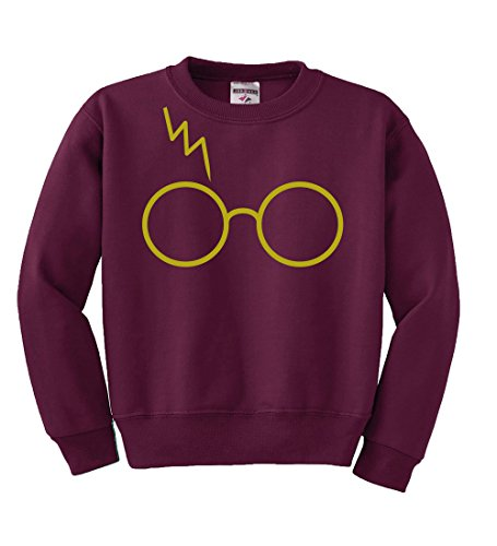 Gold Glasses With Lightning Bolt Scar | Harry Potter | Kids Unisex Pop Culture Crewneck Graphic Sweatshirt, Maroon, - Glasses Potter Harry Style
