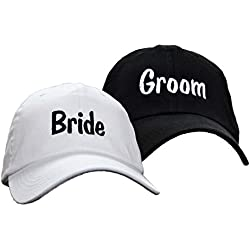 Bride Groom Embroidered Wedding Caps Hat Set