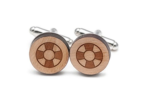 Wooden Accessories Company Lifesaver Cufflinks, Wood Cufflinks Hand Made in The ()