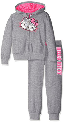 Hello Kitty Baby Little Girls' 2 Piece Embellished Active Set, Heather Gray, 6X