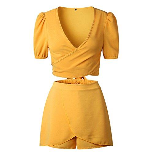 SO-WU Women Sexy 2Pcs Top&Shorts Set Mini Playsuit Jumpsuit Beach Playsuits Romper Clubwear (S, Yellow)