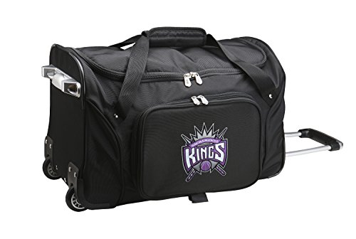 NBA Sacramento Kings Wheeled Duffle Bag, 22 x 12 x 5.5'', Black by Denco