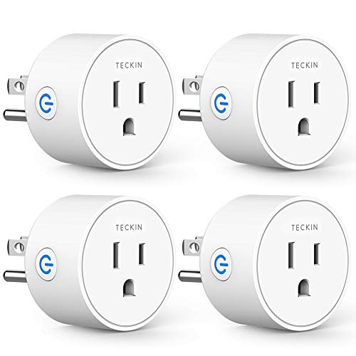Smart Plug Works with Alexa Google Assistant IFTTT for Voice Control, Teckin Mini Smart Outlet Wifi Socket with Timer Function, No Hub Required, White FCC ETL Certified